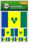 St Vincent & the Grenadines Country Flag Set of 7 Different Size Collection Decal Stickers ... New in Package
