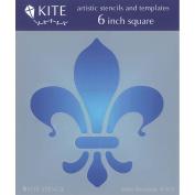 Judikins 15cm Square Kite Stencil-Fleur De Lis