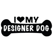 I Love My Designer Dog Dog Bone Vinyl Decal Sticker in 15cm wide
