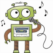 Robot Singing Clear Unmounted Rubber Stamp