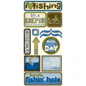 Fishing Catch of the Day Cardstock Scrapbook Stickers