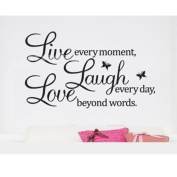 MZY LLC (TM) Live every moment,Laugh every day,Love beyond words Quote Wall Vinyl Sticker Home Decor Art Removable Mural Letting Quotes Life