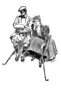 Clear stamp (6.4cm x 8.9cm ) FLONZ clingy acrylic stamp // Vintage Golf Player Portrait Engraving 05