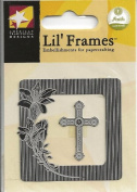 Lily Cross Frame Silver Tone Metal Lil' Frames Charms for Scrapbooking