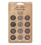 Metal Christmas Muse Tokens by Tim Holtz Idea-ology, 12 per Pack, 2.2cm , Antique Finishes, TH92989