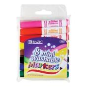 BAZIC 8 Colour Broad Line Mini Washable Markers