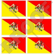 "SICILY Sicilian Flag ITALY 40mm (1,6"") Mobile Cell Phone Vinyl Mini Stickers, Decals x6"
