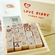 Wooden Rubber Stamp Set - 25 Kinds Korea DIY Woodiness rubber stamp-diary stamp set----Love Dairy