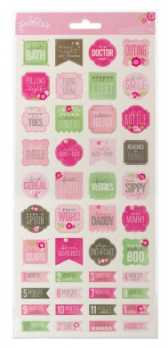 Pebbles 88-Piece Special Delivery Girl Milestone Stickers