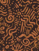 Tribal Screenprinted Unryu Paper- Orange 60cm x 90cm Sheet