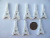 8 Kawaii Resin Cabochon Flat Back White Effiel Tower for Scrapbook, Cell Phone...