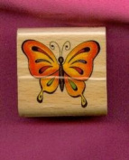 Butterfly Rubber Stamp on 1 1/2 X 1 1/2 Block
