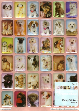PUPPY EPOXY STICKERS BY RACHAELHALE (36 LOVEABLE PUPPIES)