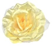 Cuteque International CQA106-BABY MAIZE 3-Piece Packed Satin Organza Rose Embellishment, 10cm , Baby Maize