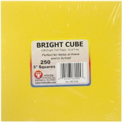 Hygloss NOM340804 Mighty Bright Cube Paper Pad 13cm x 13cm 250 Sheets/Cube, 25 Sheets Each Of 10 Assorted Colours