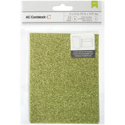 American Crafts Glitter Cards and A7 Envelopes for Scrapbooking, 11cm by 14cm , Key Lime