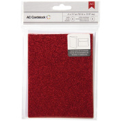 American Crafts Glitter Cards and A7 Envelopes for Scrapbooking, 11cm by 14cm , Scarlet