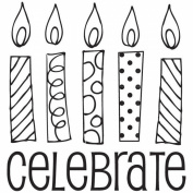 Mounted Rubber Stamp 6.4cm x 6.4cm -Celebrate