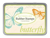 Cavallini 3 Assorted Rubber Stamps Sets, Butterflies