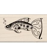 Inkadinkado Wood Mounted Rubber Stamp K, Fancy Fish