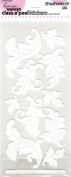 Jumbo Damask Leaf Velvet White Class A'Peels Scrapbook Stickers