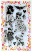 Girls in anime style // Clear stamps pack (10cm x 18cm ) FLONZ