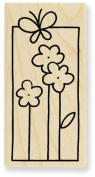 Butterfly Bloom Window Wood Mounted Rubber Stamp