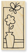 Butterfly Vase Window Wood Mounted Rubber Stamp