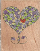 Marna Curly Heart Wood Mounted Rubber Stamp