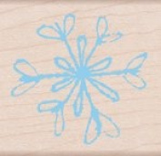 Paper Inked Snowflake Wood Mounted Rubber Stamp