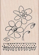 Sketchbook Flowers Wood Mounted Rubber Stamp