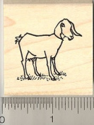 Small Nubian Goat Rubber Stamp - Wood Mounted
