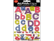 me & my BIG ideas Alpha Chips Designer Chipboard Letter Stickers, Bailey Alphabet Jewel Foil