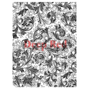 Deep Red Stamps - Floral Trumpets Background