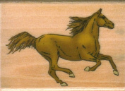 Running Horse Rubber Stamp on Wooden Block