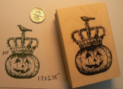 Halloween Pumpkin with Raven Rubber Stamp P35