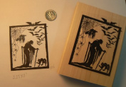Witch with bats halloween rubber stamp P35