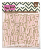 BasicGrey Hey Girl Collection Printed Chipboard Alpha