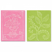 Sizzix Textured Impressions A2 Embossing Folders 2/Pkg-Fern & Seed Packet