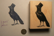 Crow with top hat rubber stamp P51