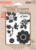 Hero Arts Rubber Stamps Luscious Patterned Flowers Clear Stamp Set
