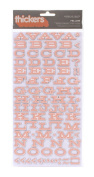 American Crafts Thickers Printed Chipboard Letter Stickers, Fellow Sherbert