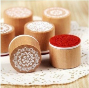 6 Pcs Korea DIY Wood Round Rubber Stamp