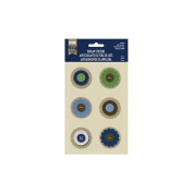 Naturals Layered Burlap Stickers-Button Dots