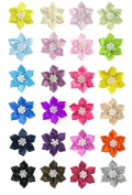 24pc (12x 2pc) 5.1cm DIY Satin Star Flowers for Sewing, Hair Clips, Scrapbooking