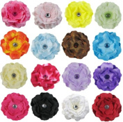 18pc (9x 2pc) 5.1cm Cherry Blossom DIY Flowers for Hair Clips, Scrapbooking and More--Colour May Vary