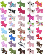 HipGirl DIY Bows, Flowers and Embellishments (10 Pairs 3.8cm Hip Scottie Embellishment/Appliques--Colour Might Vary)--a013