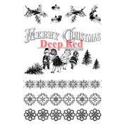 Deep Red Stamps Holiday - Christmas Holly Borders