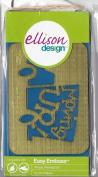 Ellison Design Easy Emboss Stencil - Phrase, Moving Up!