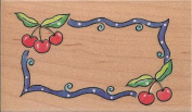 Marna Cherry Swirl Border Wood Mounted Rubber Stamp